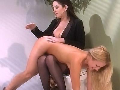 Submissive Blonde Restroom Spanking